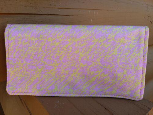 Handmade Fabric Checkbook Cover Soft Pink