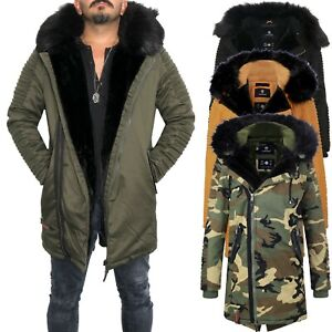 Details zu Marikoo Osaka Herren Winter Jacke Wintermantel Parka Mantel Fellkragen Warm Lang