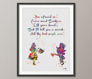 Mad Hatter And Alice In Wonderland Quote Watercolor Print Tea Time