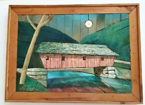 VTG Lath Art Wall Painting Signed Joest Wood Folk Art Primitive Covered Bridge