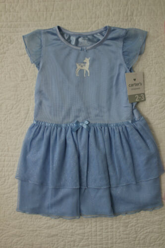 NEW CARTERS LITTLE GIRLS NIGHT GOWN BLUE PINK OR GREEN SIZE 2//3 2T 3T 4T