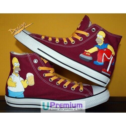 Converse All Star Bordeaux Homer Simpson schuhe Disegnate Handmade Paint herren Do