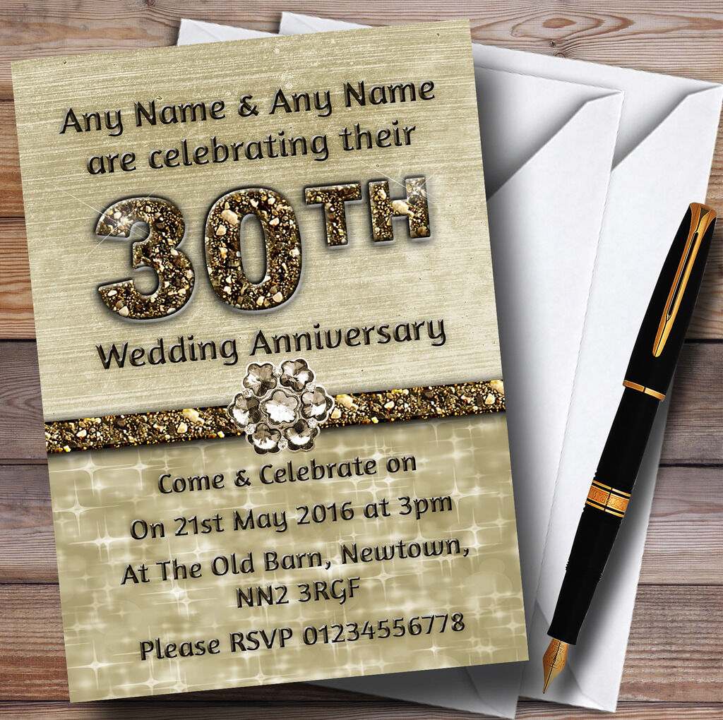 Titanium Gold Sparkly 30Th Personalised Anniversary Party Invitations