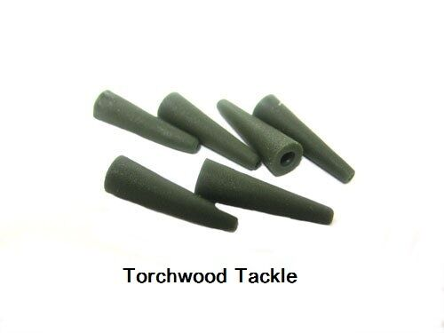 30  WEED GREEN  RUBBER TAIL CONES FOR CARP FISHING SAFETY LEAD CLIPS