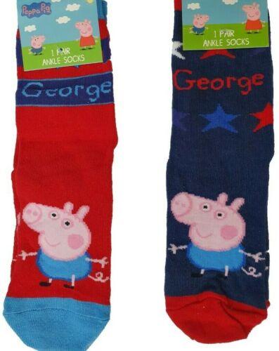 2 Paires Enfants Garçons PEPPA PIG GEORGE Chaussettes Âge 4 5 6 7 Chaussure Taille 9 12