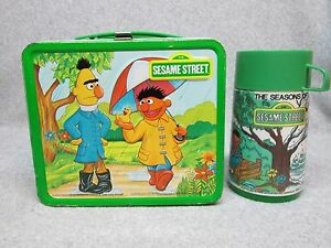 1979 Green SEASONS of SESAME STREET LUNCHBOX & THERMOS High-Grade Condition#9++