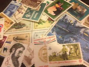 30-MNH-OLD-RETRO-All-Different-8-cent-stamps-singles-and-se-tenant-issues