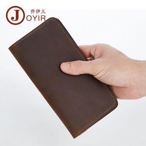 Men Crazy Horse Leather Bifold Long Organizer Wallet Handmade ID Coin Money Clip