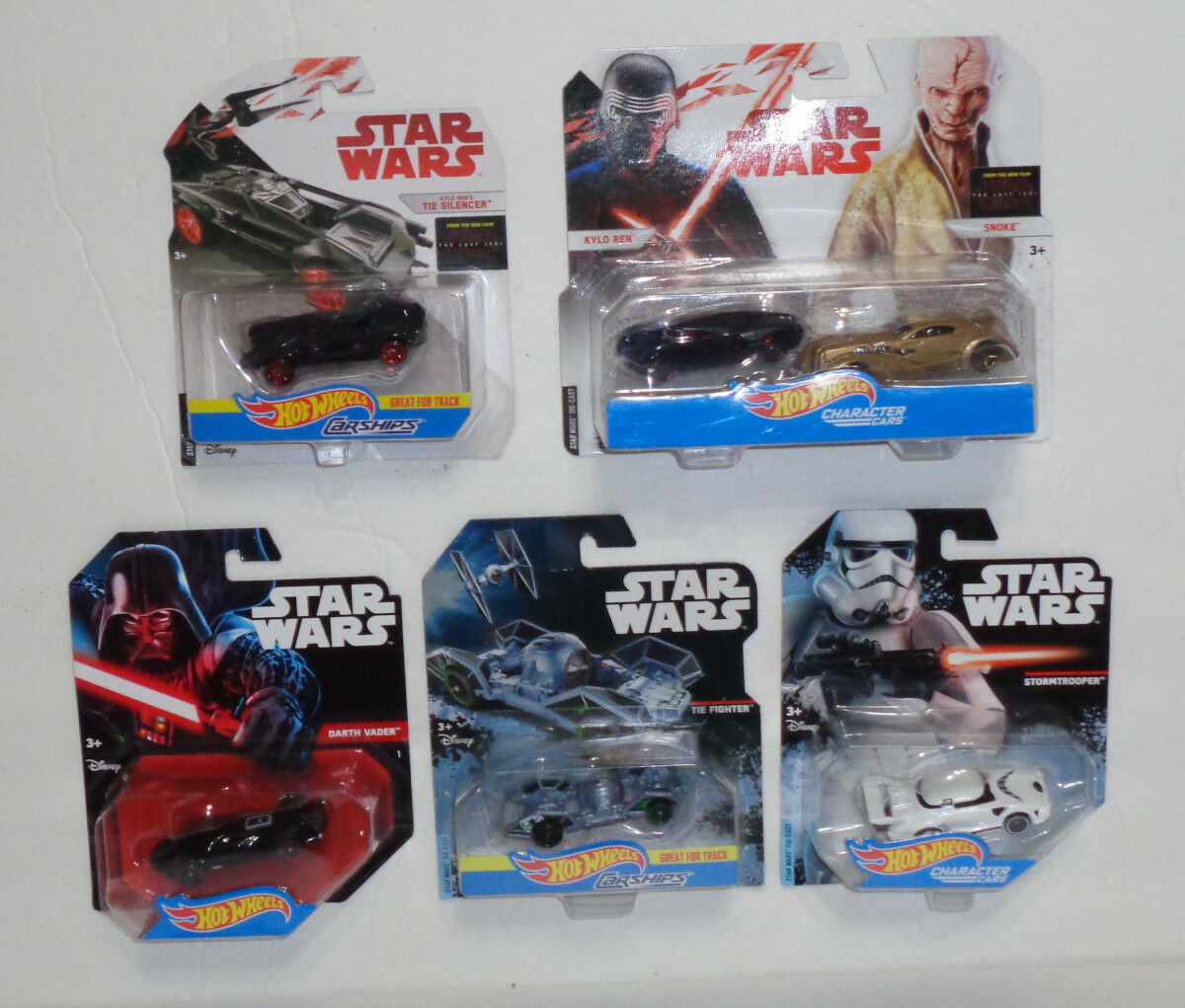 (6) Estrella Wars Hot Wheels Cocheácter coches y Cocheships (Darth Vader, Kylo Ren, + más)
