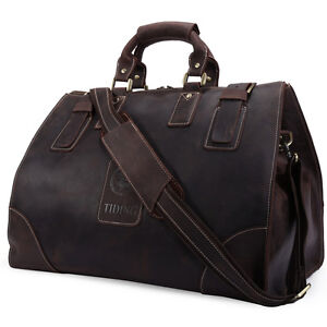 Vintage-Men-039-s-Cowhide-Leather-Tote-Travel-Bags-Luggage-Duffle-Overnight-Camping