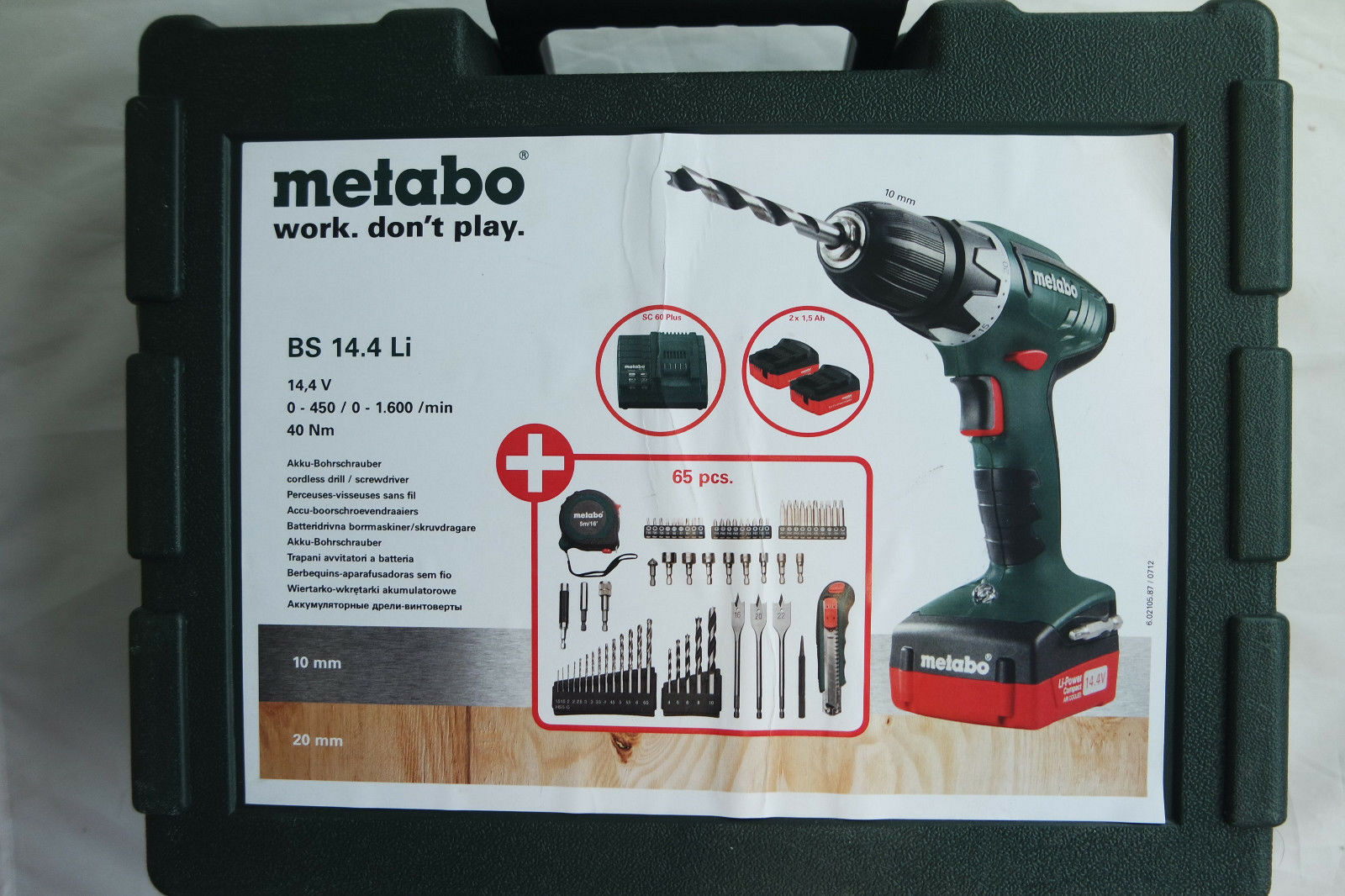Metabo BS 14.4 Li Mobile Werkstatt Set 2x1,5Ah SC 60 Plus
