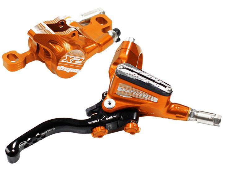 Hope Tech 3 X2 orange Front & Rear Braided Hose Brake Set - Brand New