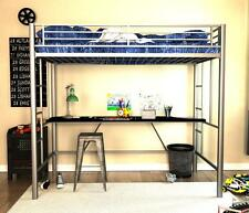 Innovative Modern Twin Metal Loft Bed with Desk and built-in ladders and rails