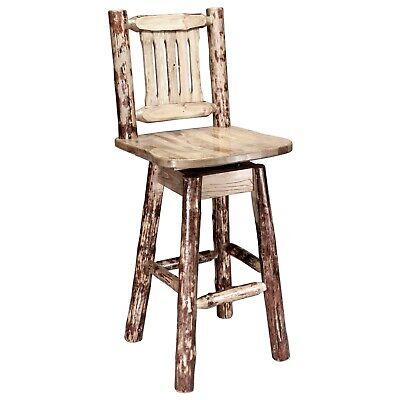 Wooden Swivel Bar Stools 24 Inch Log Barstools Amish Made Lodge Cabin Furniture Ebay