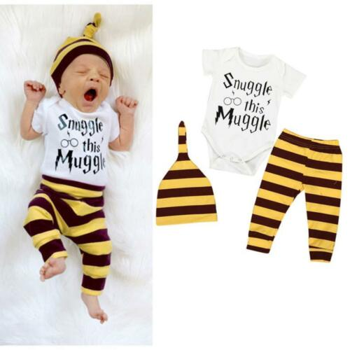 3PCS Newborn Baby Boy Girl Tops Romper Pants Leggings Hat Outfits Set Clothes US