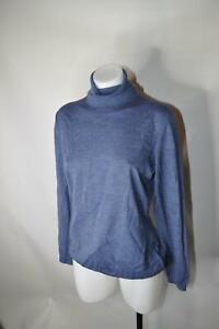 Lafayette-148-New-York-Turtleneck-Sweater-Blue-Wool-Long-Sleeve-Women-Size-L
