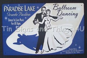 Paradise-Lake-Ballroom-Dancing-TIN-SIGN-metal-poster-vtg-advertising-wall-decor