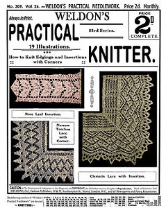 Weldon-039-s-2D-309-c-1910-Practical-Knitting-Patterns-Vintage-Lace-Edgings-REPRO