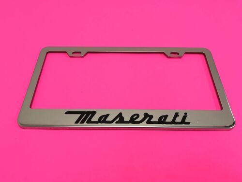 Maserati STAINLESS STEEL Chrome Metal License Plate Frame w//Screw caps