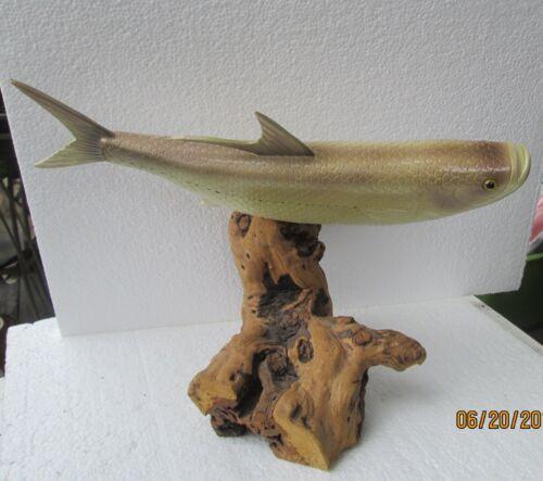 Poisson Leurre sur socle poisson 14 in (environ 35.56 cm) yeux en verre joliment peint