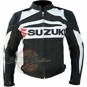 New Suzuki GSX Black Motorcycle Motorbike Biker Racing Leather Armoured Jacket