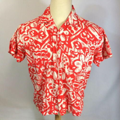 Vtg 50's BRENT Hawaiian Loop Collar Camp Surf Spor