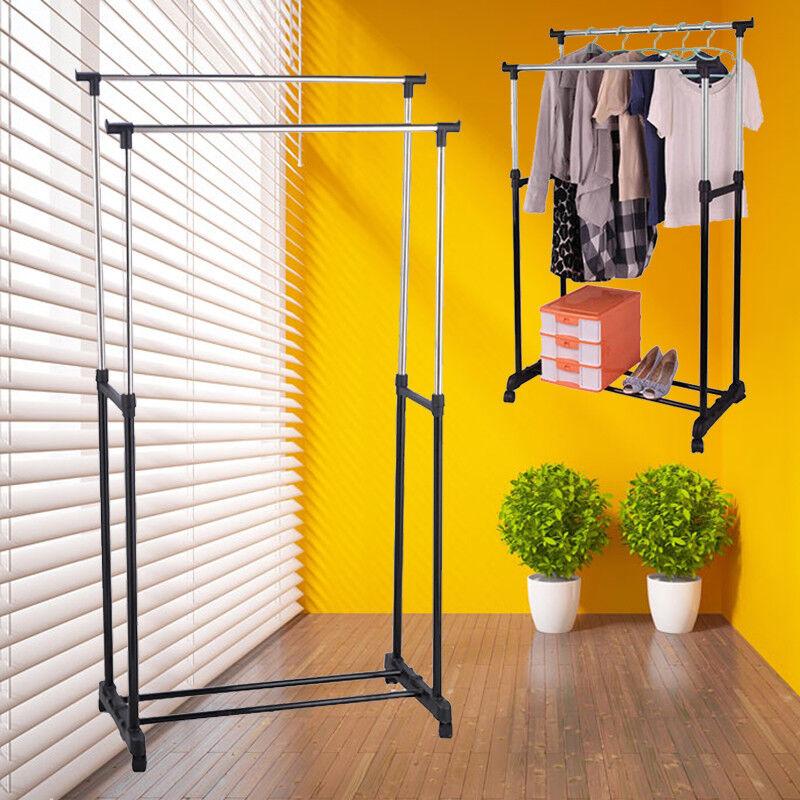 Double Heavy Duty Rail Adjustable Portable Clothes Hanger Rolling
