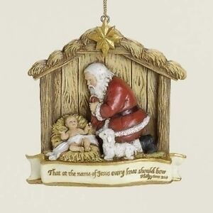 Roman-Inc-034-KNEELING-SANTA-ORNAMENT-034-NEW-Boxed