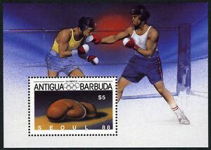 Antigua 1052 S/s, MI Bl.125, MNH. Olympics, Seoul. Boxing, 1987