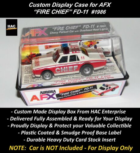 FIRE CHIEF #1986 Custom Display Case AFX  Chevy Pursuit w Overhead Lights