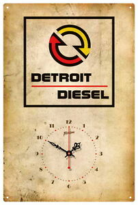 DETROIT DIESEL VINTAGE TIN SIGN CLOCK