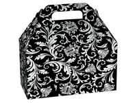 6ct black White Damask Gable Gift Boxes Tote Containers 8-1/2x 4-3/4x 5-1/2