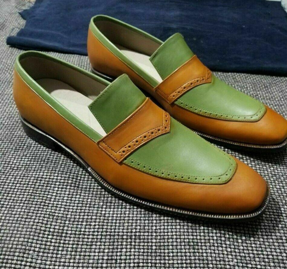 Handgemachte echtes Leder Two Tone Loafers Slip-On Mokassins Formelle Schuhe