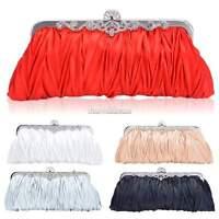 Women Satin Clutch Party Wedding Purse Evening Bag Bridal Crystal Handbag Tote S