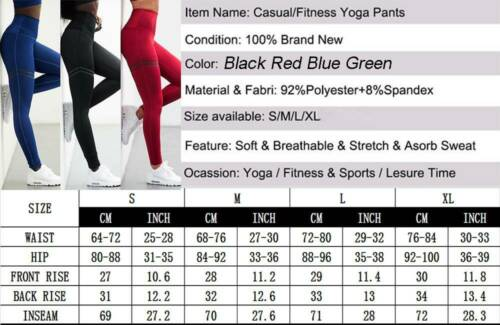 Womens Butt Lift Yoga Pants High Waist Leggings Ruched Workout Pockets Trousers