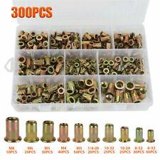 New Listing300pc Zinc Steel Rivet Nut Kit Rivnut Nutsert Assort 150pcs Metric150pcs Sae Bl