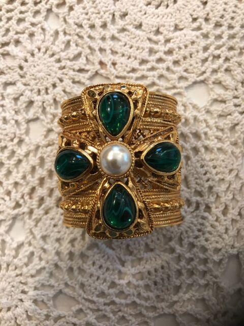 Authentic vintage ben amun 24K gold plated Byzantine cuff bracelet