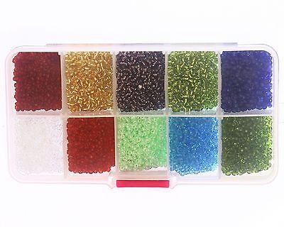 10 Colores-aurora boreal 100g 2mm ronda Cristal Semilla Cuentas
