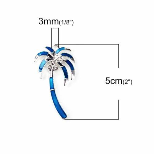 Coconut Palm Tree 50mm Blue Enamel Silver Plated Pendant C8600-1 2 Or 5PCs