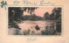 ST. PATRICK'S DAY HOLIDAY IRELAND ROW BOAT HAND MADE POSTCARD (c. 1908) 484