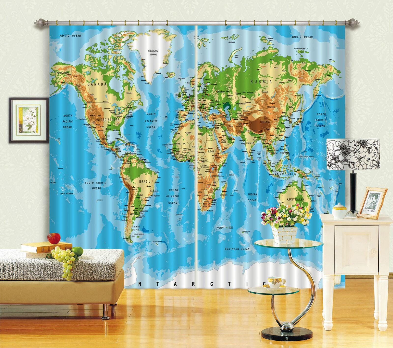 3d Mappa del mondo 4846 blocco foto sipario pressione sipario tende tessuto finestra de