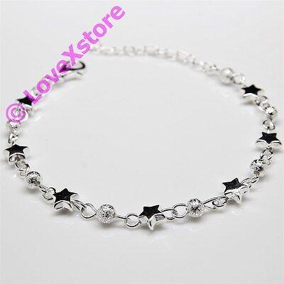 925 Sterling Silver Plated Star & Frost Pearls Chain Bracelet Bangle Bracelets