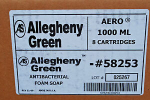 1-Case of 8-Cartridges / Allegheny Green ANTIBACTERIAL FOAM SOAP 1-Liter #S5197