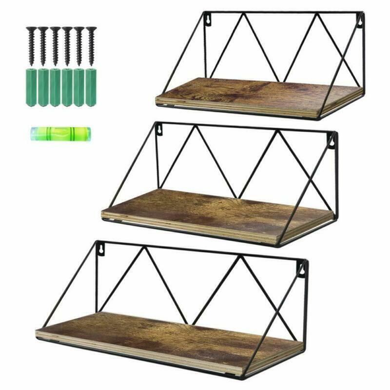 Floating Wall Shelves Set of 3 Rustic Wood Storage Shelf for Bathroom  Kitchen