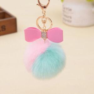 AU-KE-BH-CO-electrified-Rabbit-Fur-Ball-Fluffy-Bowknot-Charm-Car-Key-Ring-Ha