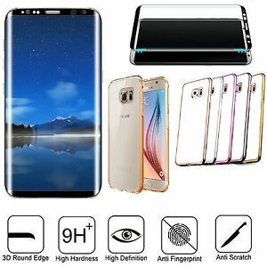 Custodia-Silicone-Bordi-Cromati-Pellicola-Vetro-Curvo-3D-x-Samsung-S6-S7-Edge