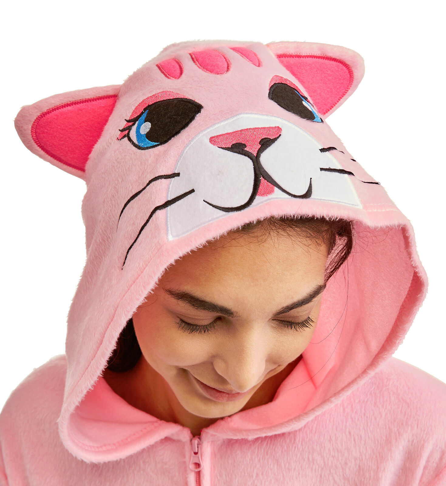 Pink Kitty Cat One Piece Hooded Pajamas Womens M-L Adult
