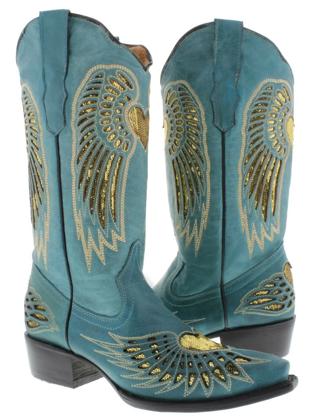 Womens Turquoise gold Heart Sequins Dress Leather Cowgirl Boots Pointed Toe