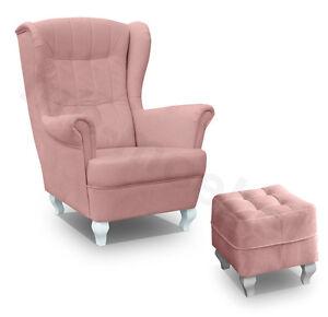 Ohrensessel Mit Hocker Stanford Rosa Fernsehsessel Wohnzimmer Sessel