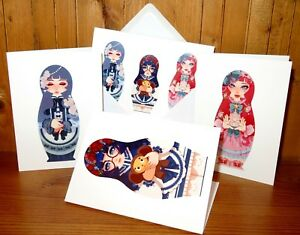 GREETING-BIRTHDAY-CARD-ANIME-Matryoshka-Nesting-Russian-Doll-Pink-Cheburashka